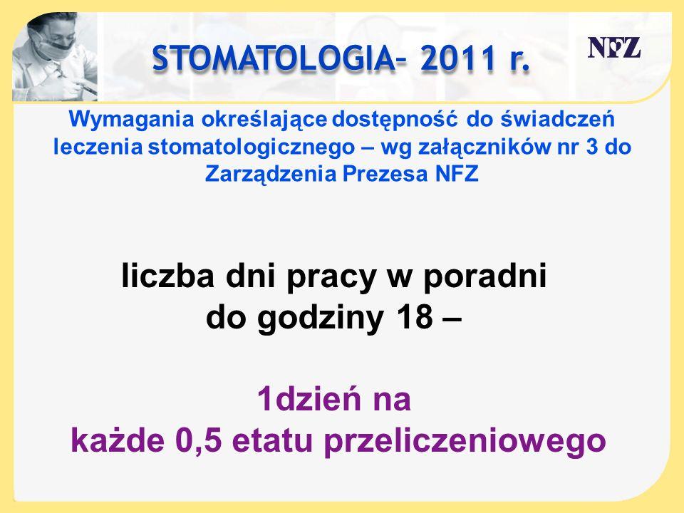 STOMATOLOGIA– 2011 r. Wymagania określające dostępność do świadczeń leczenia stomatologicznego – wg załączników nr 3 do Zarządzenia Prezesa NFZ liczba