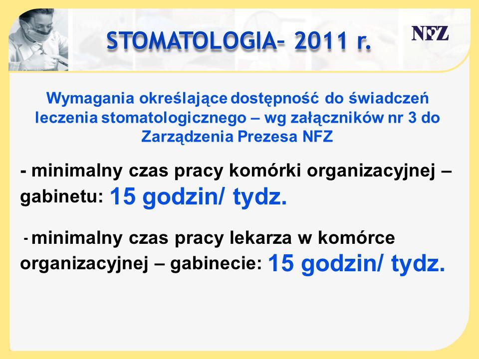 STOMATOLOGIA– 2011 r. Wymagania określające dostępność do świadczeń leczenia stomatologicznego – wg załączników nr 3 do Zarządzenia Prezesa NFZ - mini