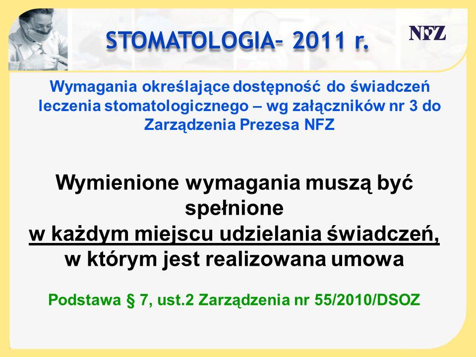 STOMATOLOGIA– 2011 r. Wymagania określające dostępność do świadczeń leczenia stomatologicznego – wg załączników nr 3 do Zarządzenia Prezesa NFZ Wymien