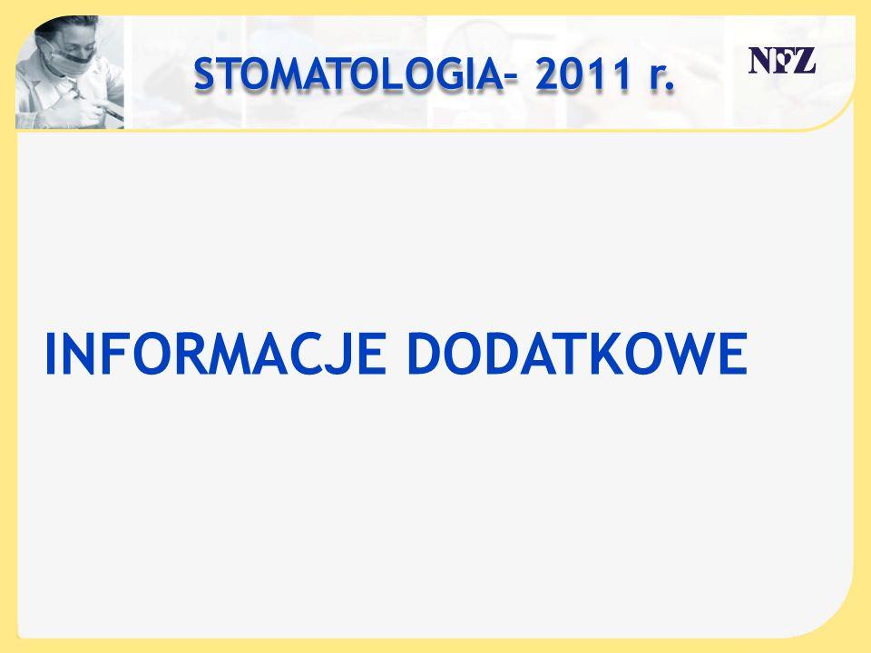 STOMATOLOGIA– 2011 r. INFORMACJE DODATKOWE
