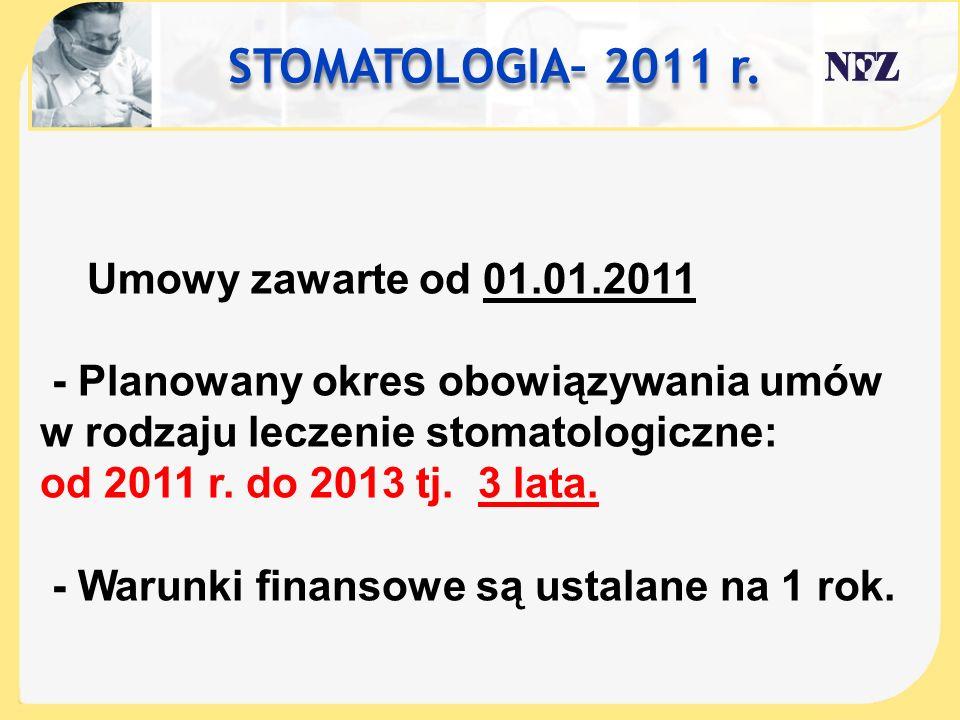 STOMATOLOGIA– 2011 r. Umowy zawarte od 01.01.2011 - Planowany okres obowiązywania umów w rodzaju leczenie stomatologiczne: od 2011 r. do 2013 tj. 3 la