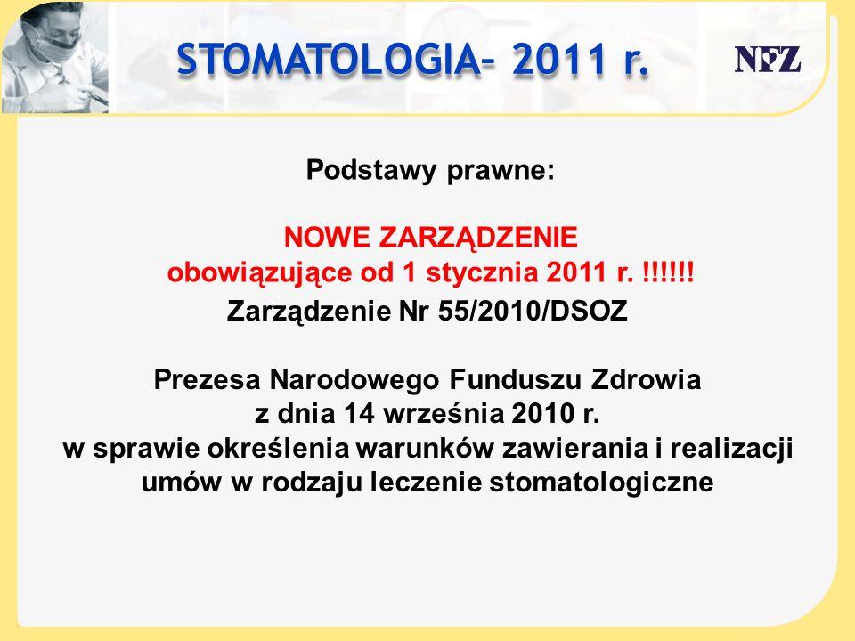 STOMATOLOGIA– 2011 r. Podstawy prawne: NOWE ZARZĄDZENIE obowiązujące od 1 stycznia 2011 r. !!!!!! Zarządzenie Nr 55/2010/DSOZ Prezesa Narodowego Fundu
