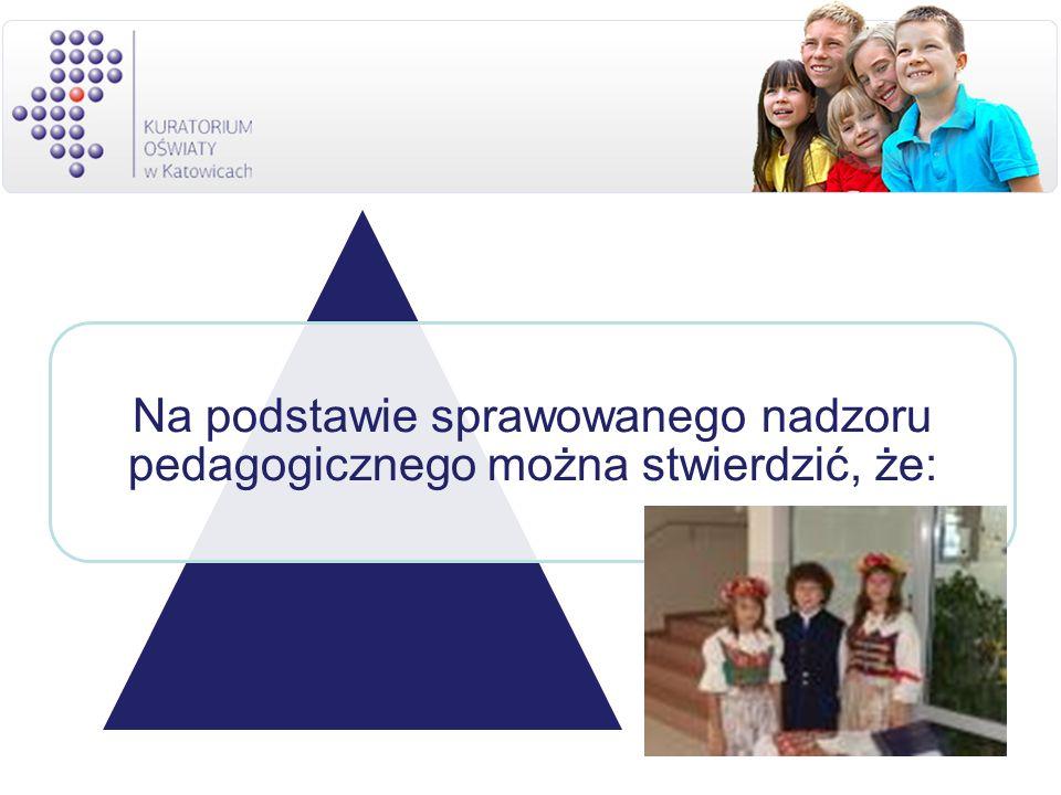 Na podstawie sprawowanego nadzoru pedagogicznego można stwierdzić, że:
