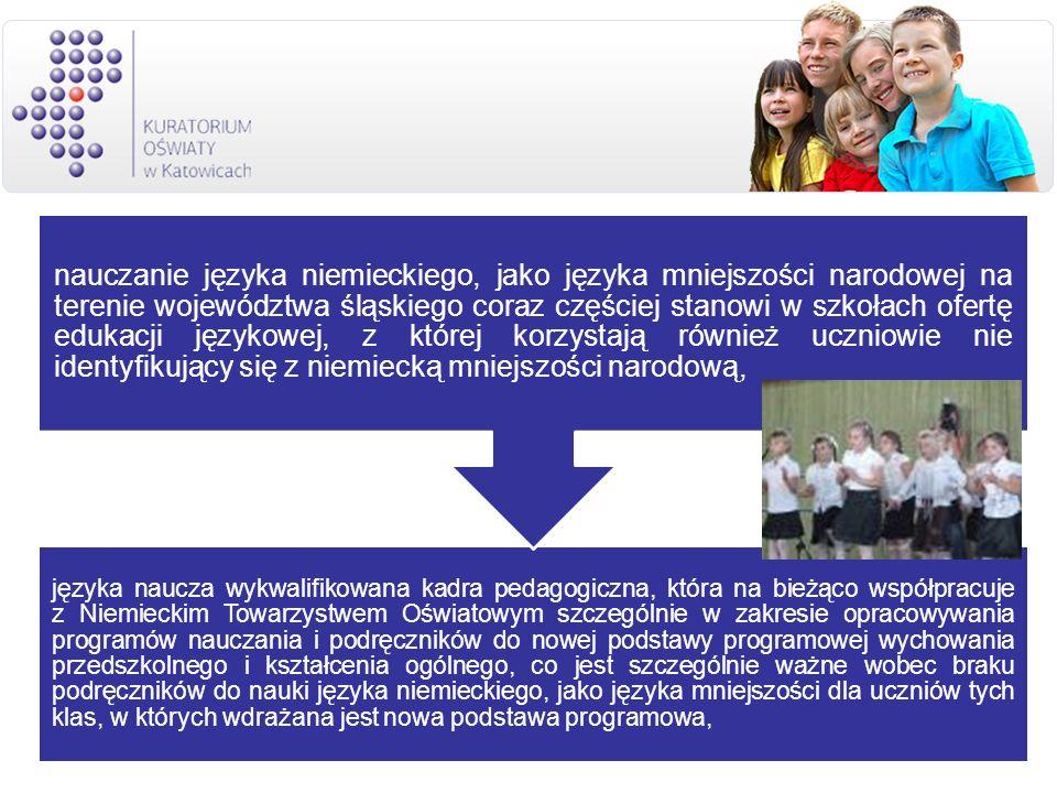 języka naucza wykwalifikowana kadra pedagogiczna, która na bieżąco współpracuje z Niemieckim Towarzystwem Oświatowym szczególnie w zakresie opracowywa