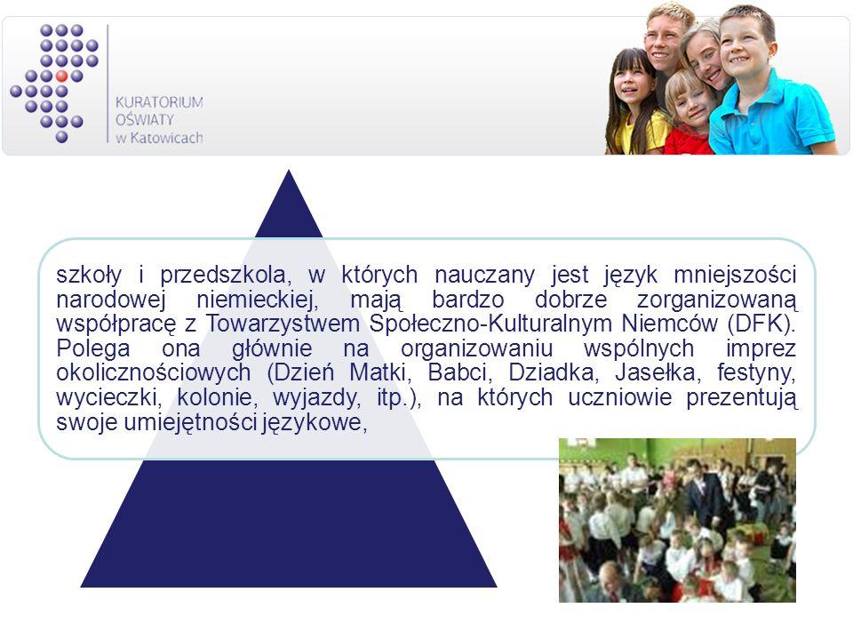 szkoły i przedszkola, w których nauczany jest język mniejszości narodowej niemieckiej, mają bardzo dobrze zorganizowaną współpracę z Towarzystwem Społ