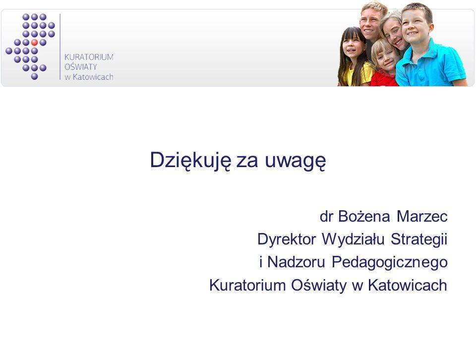 Dziękuję za uwagę dr Bożena Marzec Dyrektor Wydziału Strategii i Nadzoru Pedagogicznego Kuratorium Oświaty w Katowicach