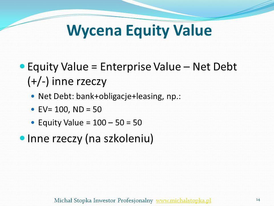 Wycena Equity Value Equity Value = Enterprise Value – Net Debt (+/-) inne rzeczy Net Debt: bank+obligacje+leasing, np.: EV= 100, ND = 50 Equity Value