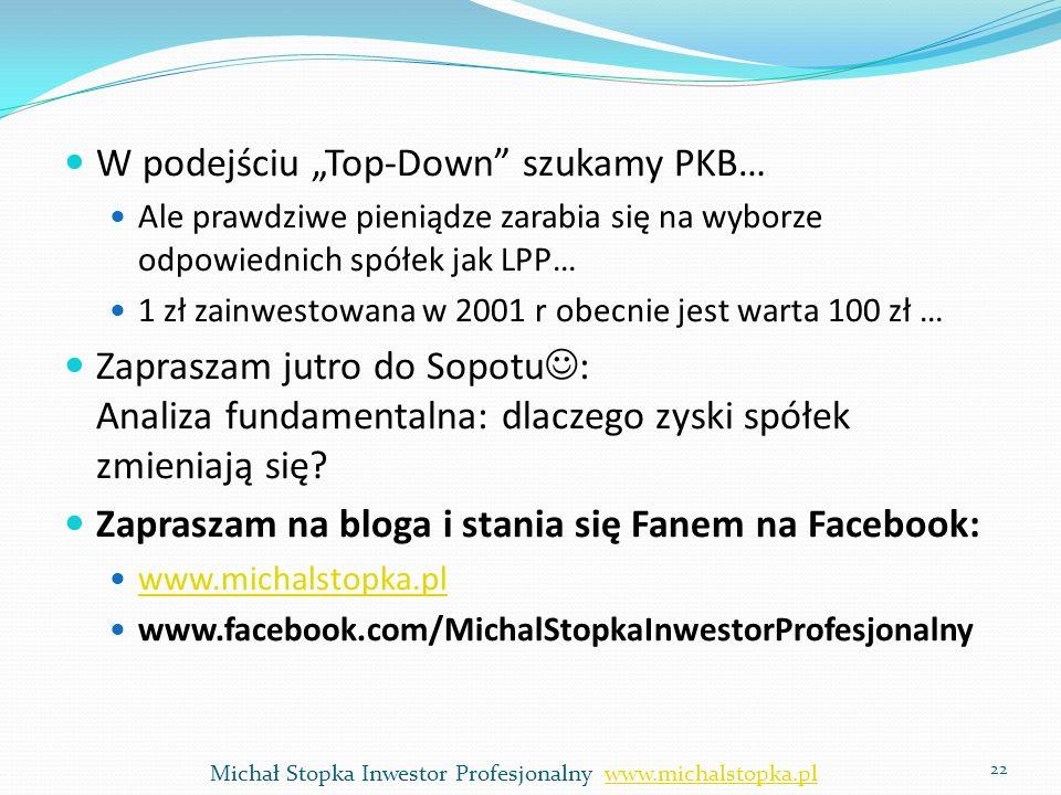 W podejściu Top-Down szukamy PKB… Ale prawdziwe pieniądze zarabia się na wyborze odpowiednich spółek jak LPP… 1 zł zainwestowana w 2001 r obecnie jest