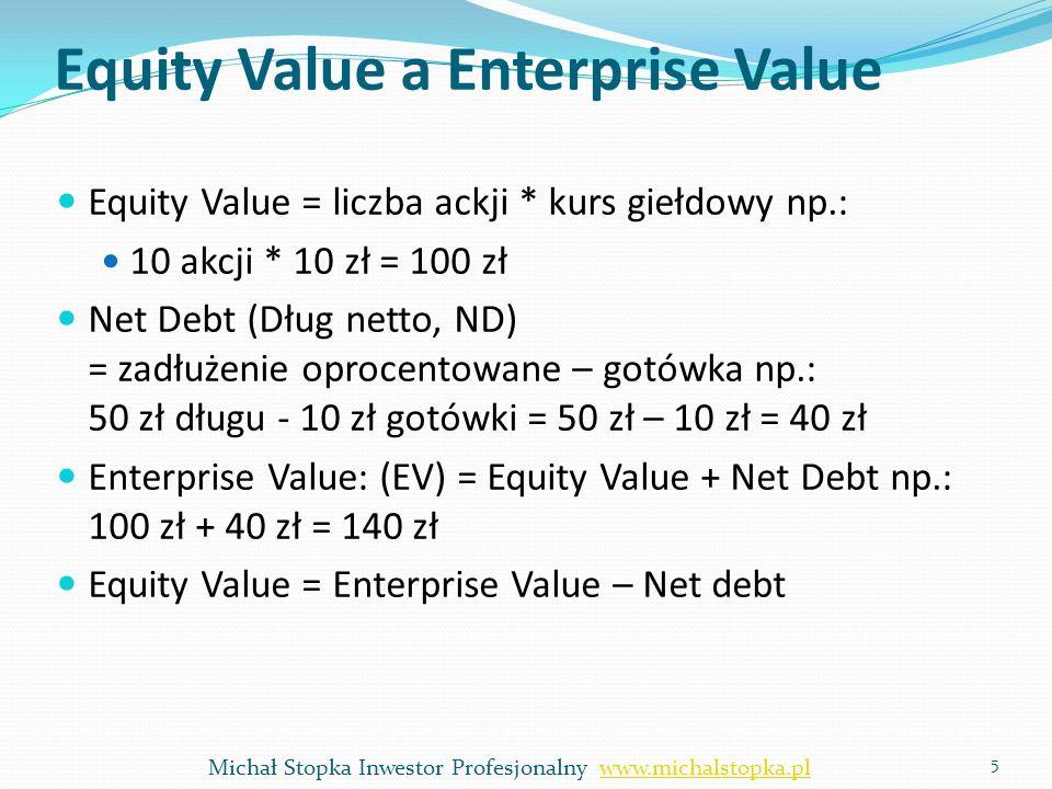 Equity Value a Enterprise Value Equity Value = liczba ackji * kurs giełdowy np.: 10 akcji * 10 zł = 100 zł Net Debt (Dług netto, ND) = zadłużenie opro