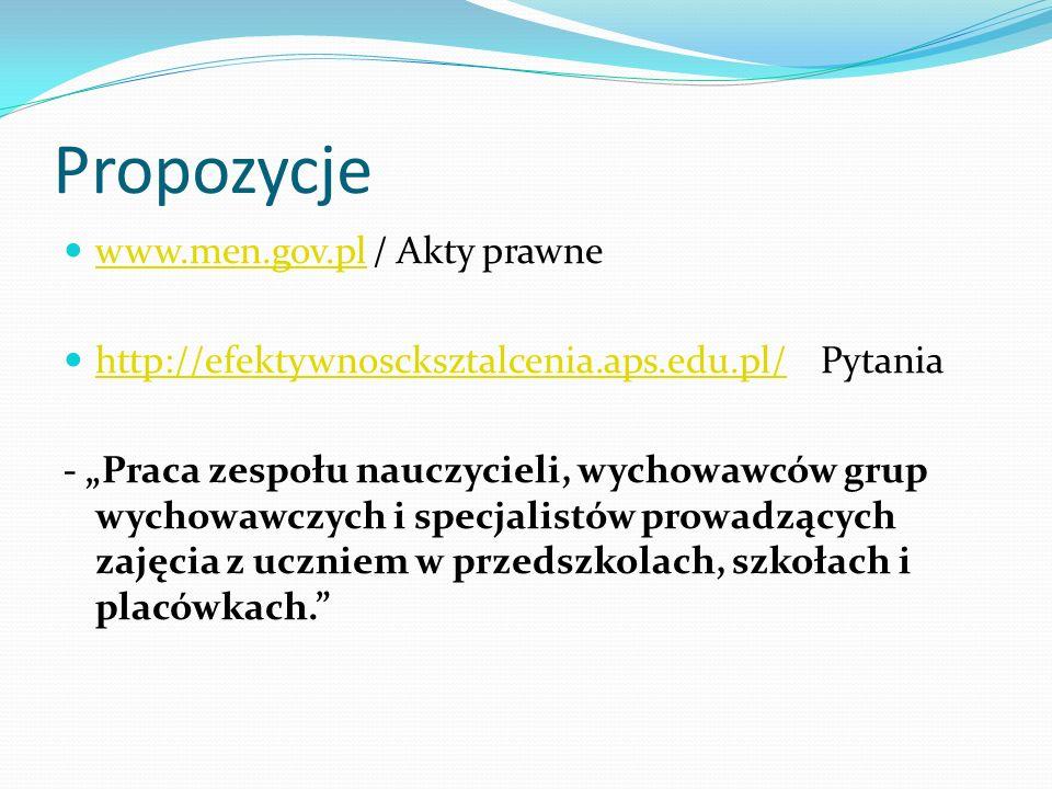 Propozycje www.men.gov.pl / Akty prawne www.men.gov.pl http://efektywnoscksztalcenia.aps.edu.pl/ Pytania http://efektywnoscksztalcenia.aps.edu.pl/ - P