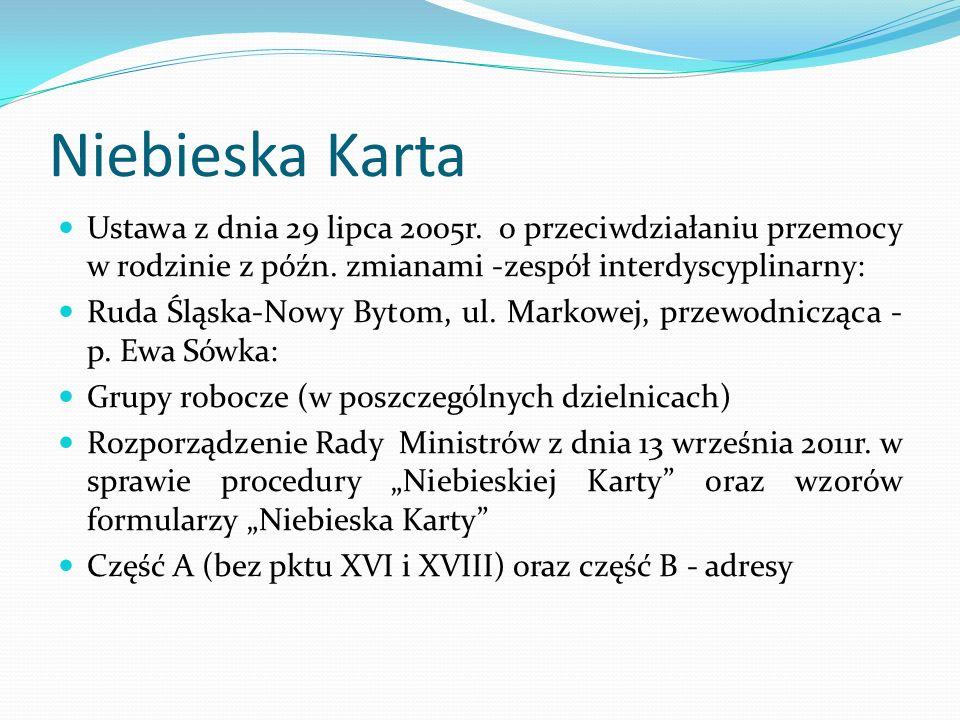 Niebieska Karta Ustawa z dnia 29 lipca 2005r. o przeciwdziałaniu przemocy w rodzinie z późn. zmianami -zespół interdyscyplinarny: Ruda Śląska-Nowy Byt