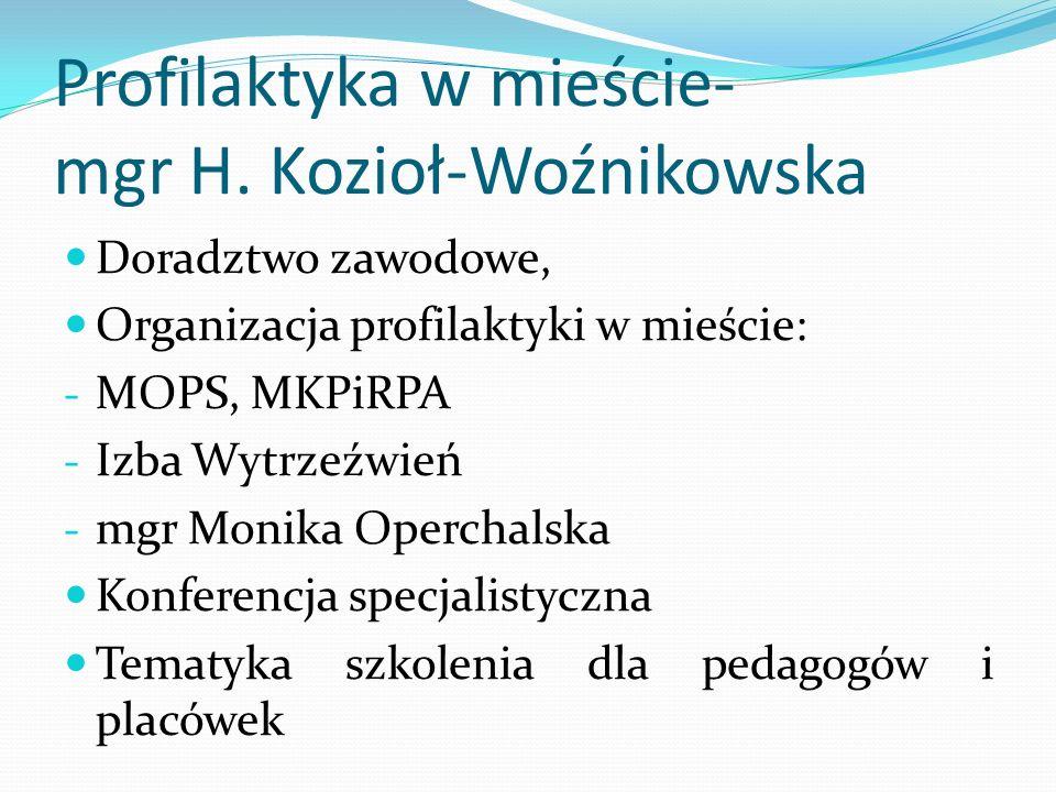 Profilaktyka w mieście- mgr H. Kozioł-Woźnikowska Doradztwo zawodowe, Organizacja profilaktyki w mieście: - MOPS, MKPiRPA - Izba Wytrzeźwień - mgr Mon