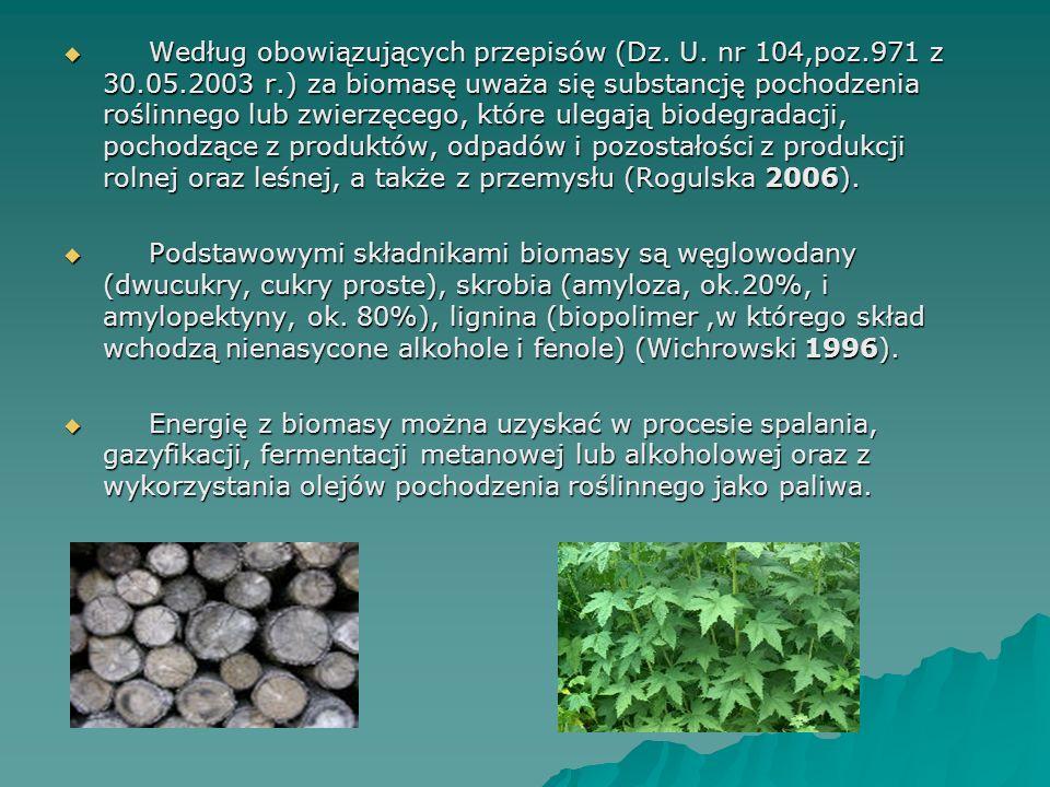 Według obowiązujących przepisów (Dz. U. nr 104,poz.971 z 30.05.2003 r.) za biomasę uważa się substancję pochodzenia roślinnego lub zwierzęcego, które