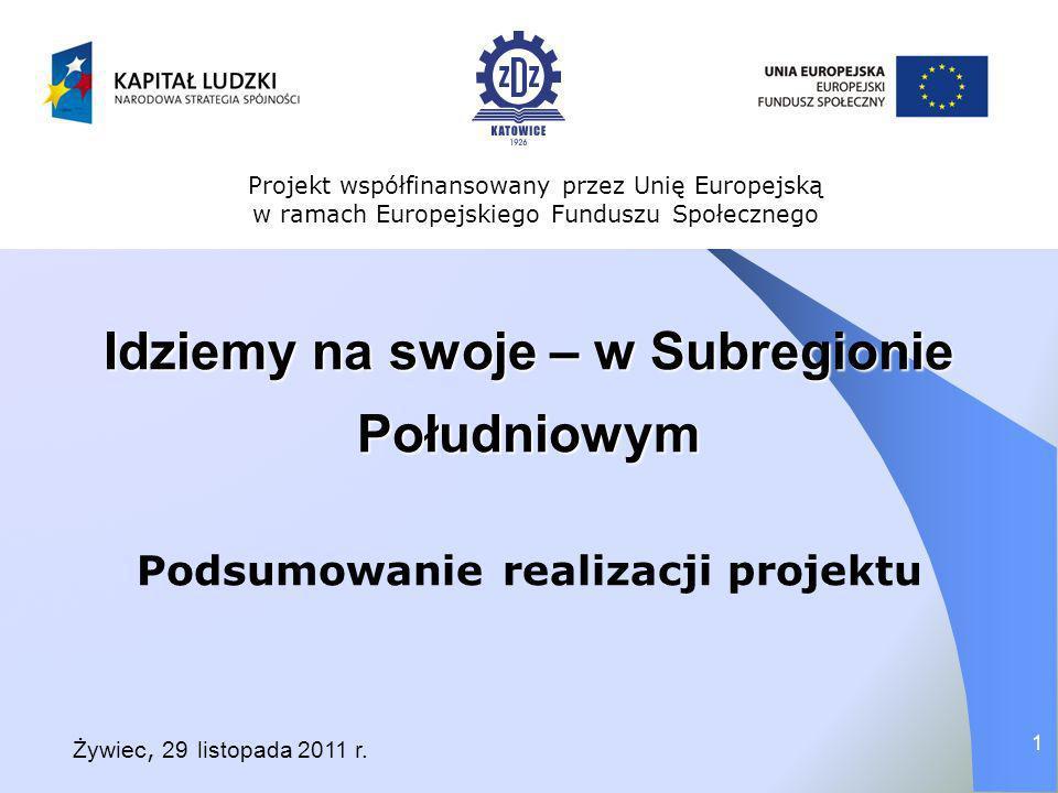 Idziemy na swoje – w Subregionie Południowym Podsumowanie realizacji projektu Projekt współfinansowany przez Unię Europejską w ramach Europejskiego Fu