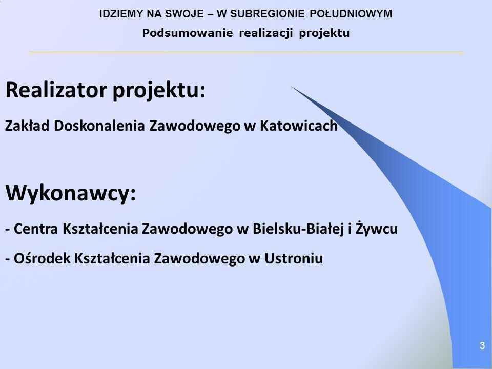 Realizator projektu: Zakład Doskonalenia Zawodowego w Katowicach Wykonawcy: - Centra Kształcenia Zawodowego w Bielsku-Białej i Żywcu - Ośrodek Kształc