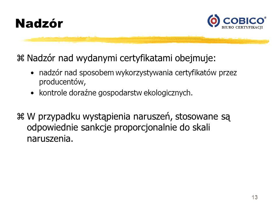 BIURO CERTYFIKACJI 13 Nadzór zNadzór nad wydanymi certyfikatami obejmuje: nadzór nad sposobem wykorzystywania certyfikatów przez producentów, kontrole
