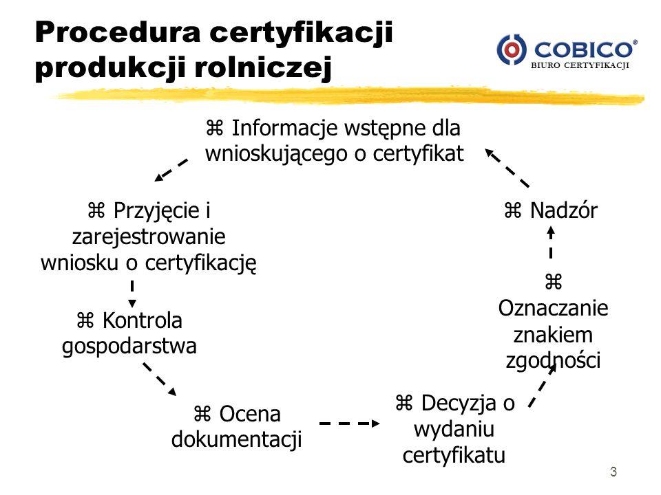 BIURO CERTYFIKACJI 3 Procedura certyfikacji produkcji rolniczej z Informacje wstępne dla wnioskującego o certyfikat z Przyjęcie i zarejestrowanie wnio