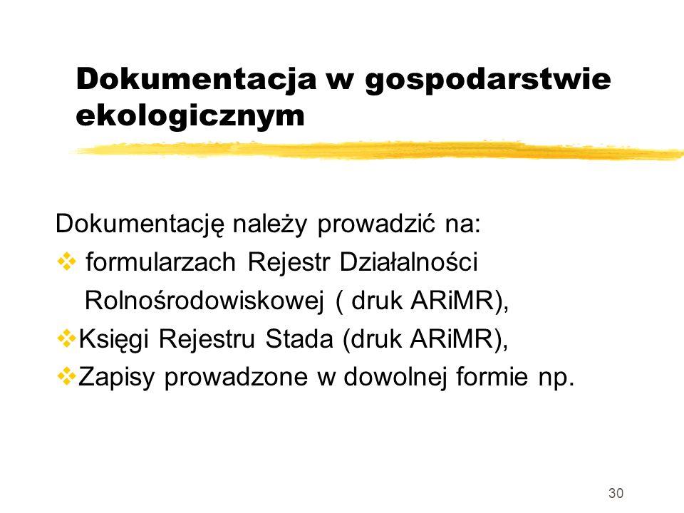 Dokumentacja w gospodarstwie ekologicznym Dokumentację należy prowadzić na: formularzach Rejestr Działalności Rolnośrodowiskowej ( druk ARiMR), Księgi