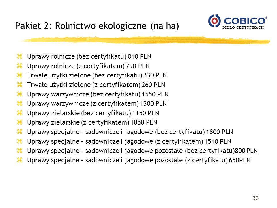 BIURO CERTYFIKACJI 33 Pakiet 2: Rolnictwo ekologiczne (na ha) z Uprawy rolnicze (bez certyfikatu) 840 PLN z Uprawy rolnicze (z certyfikatem) 790 PLN z