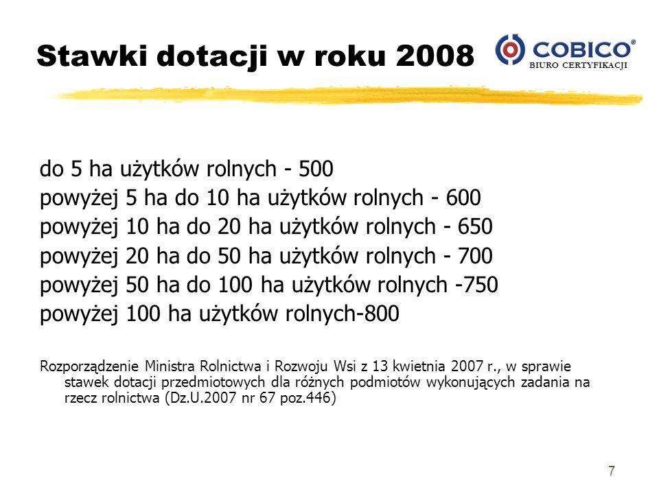 BIURO CERTYFIKACJI 7 Stawki dotacji w roku 2008 do 5 ha użytków rolnych - 500 powyżej 5 ha do 10 ha użytków rolnych - 600 powyżej 10 ha do 20 ha użytk