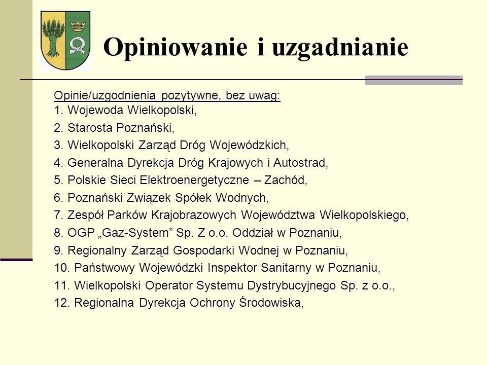 Opinie/uzgodnienia pozytywne, bez uwag: 1. Wojewoda Wielkopolski, 2. Starosta Poznański, 3. Wielkopolski Zarząd Dróg Wojewódzkich, 4. Generalna Dyrekc
