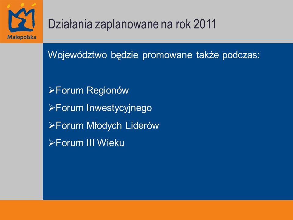 Działania zaplanowane na rok 2011 Województwo będzie promowane także podczas: Forum Regionów Forum Inwestycyjnego Forum Młodych Liderów Forum III Wieku