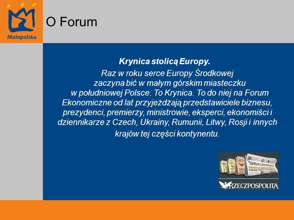 Forum Ekonomiczne na przestrzeni lat I Forum Ekonomiczne – 100 uczestników X Forum Ekonomiczne – 1000 uczestników XX Forum Ekonomiczne – 2000 uczestników; 5 sesji plenarnych ponad 140 paneli dyskusyjnych ponad 900 panelistów niemal 400 dziennikarzy ze 150 redakcji ponad 30 koncertów, spotkań autorskich, wystaw, pokazów filmowych