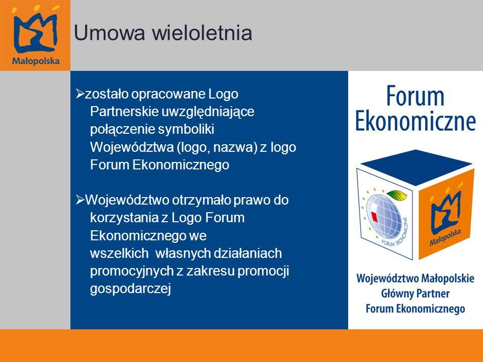 zostało opracowane Logo Partnerskie uwzględniające połączenie symboliki Województwa (logo, nazwa) z logo Forum Ekonomicznego Województwo otrzymało prawo do korzystania z Logo Forum Ekonomicznego we wszelkich własnych działaniach promocyjnych z zakresu promocji gospodarczej Umowa wieloletnia