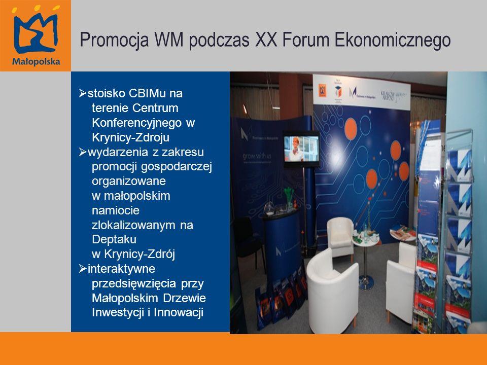 Promocja WM podczas XX Forum Ekonomicznego stoisko CBIMu na terenie Centrum Konferencyjnego w Krynicy-Zdroju wydarzenia z zakresu promocji gospodarczej organizowane w małopolskim namiocie zlokalizowanym na Deptaku w Krynicy-Zdrój interaktywne przedsięwzięcia przy Małopolskim Drzewie Inwestycji i Innowacji