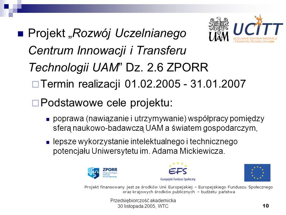 Przedsiębiorczość akademicka 30 listopada 2005, WTC10 Projekt Rozwój Uczelnianego Centrum Innowacji i Transferu Technologii UAM Dz. 2.6 ZPORR Termin r