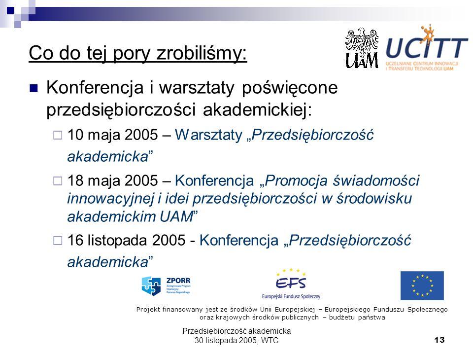 Przedsiębiorczość akademicka 30 listopada 2005, WTC13 Co do tej pory zrobiliśmy: Konferencja i warsztaty poświęcone przedsiębiorczości akademickiej: 1