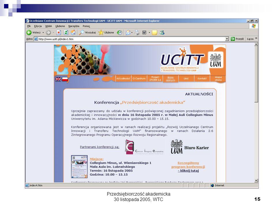 Przedsiębiorczość akademicka 30 listopada 2005, WTC15
