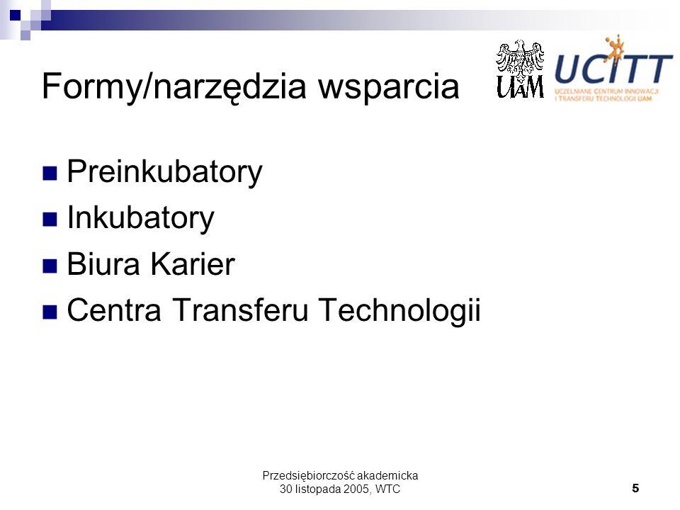 Przedsiębiorczość akademicka 30 listopada 2005, WTC5 Formy/narzędzia wsparcia Preinkubatory Inkubatory Biura Karier Centra Transferu Technologii