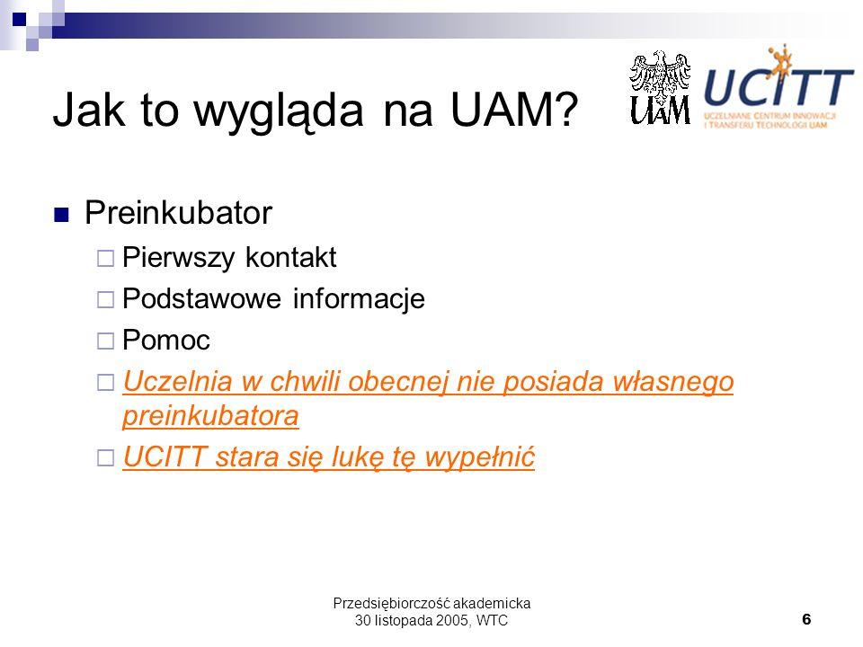 Przedsiębiorczość akademicka 30 listopada 2005, WTC6 Jak to wygląda na UAM? Preinkubator Pierwszy kontakt Podstawowe informacje Pomoc Uczelnia w chwil