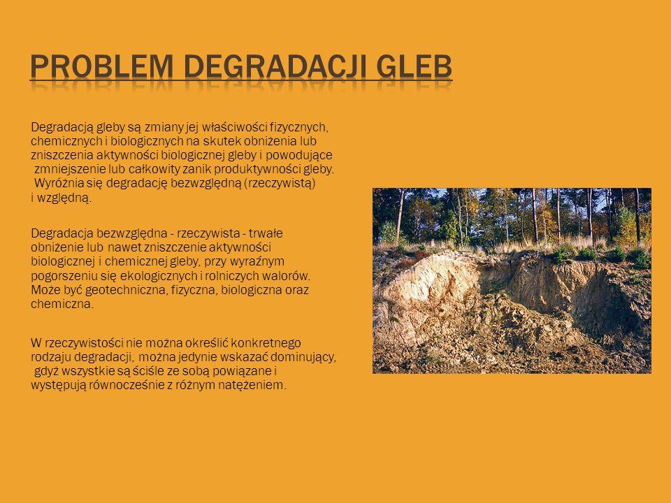 Degradacją gleby są zmiany jej właściwości fizycznych, chemicznych i biologicznych na skutek obniżenia lub zniszczenia aktywności biologicznej gleby i