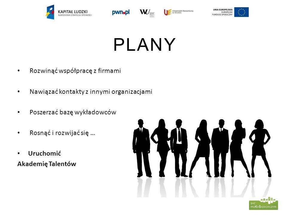 PLANY Rozwinąć współpracę z firmami Nawiązać kontakty z innymi organizacjami Poszerzać bazę wykładowców Rosnąć i rozwijać się … Uruchomić Akademię Talentów