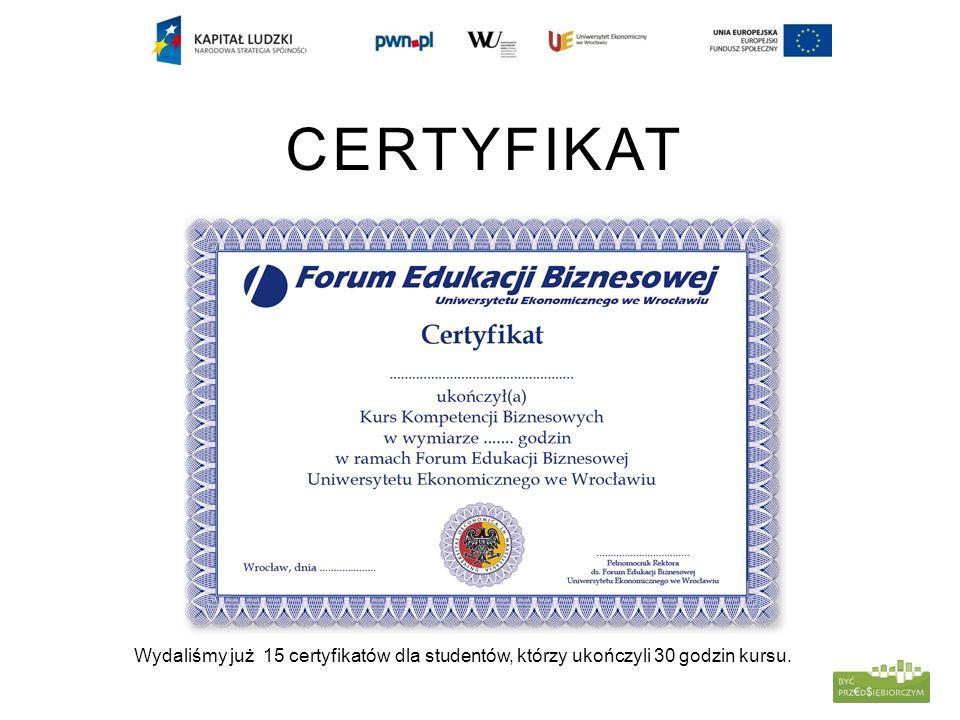 CERTYFIKAT Wydaliśmy już 15 certyfikatów dla studentów, którzy ukończyli 30 godzin kursu.