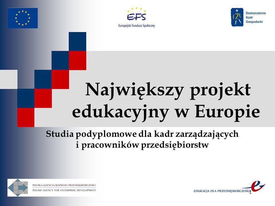 1 Największy projekt edukacyjny w Europie Studia podyplomowe dla kadr zarządzających i pracowników przedsiębiorstw