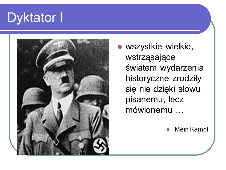 Dyktator I wszystkie wielkie, wstrząsające światem wydarzenia historyczne zrodziły się nie dzięki słowu pisanemu, lecz mówionemu … Mein Kampf
