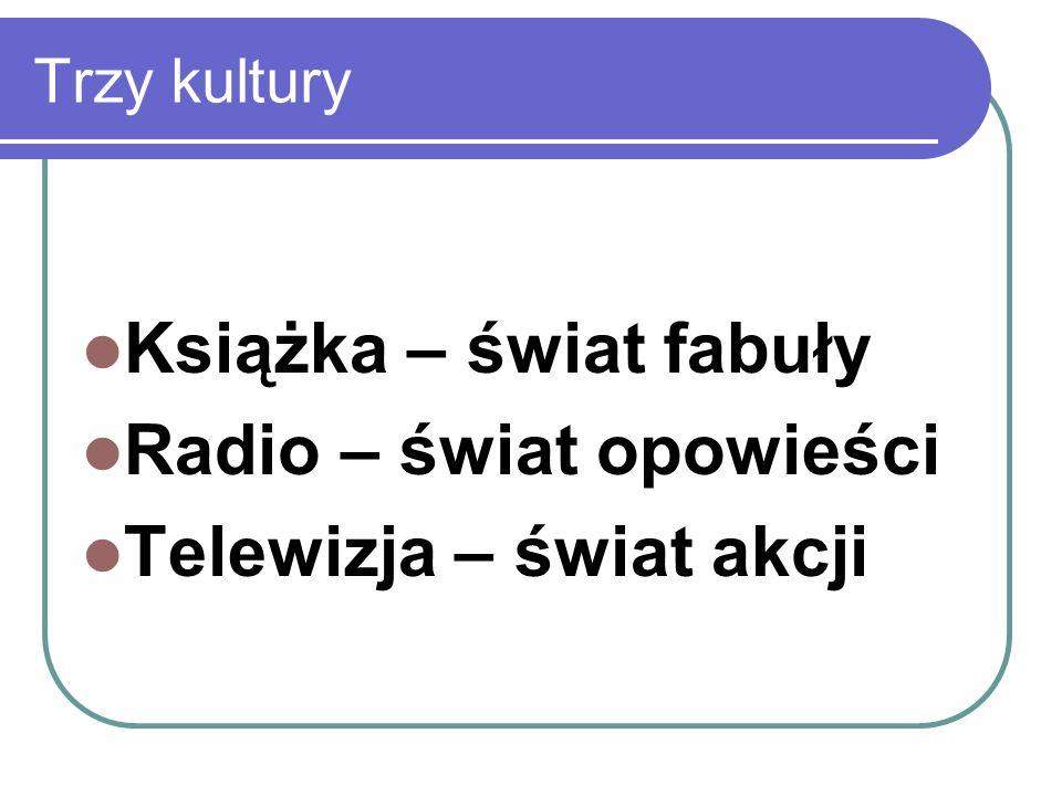 Trzy kultury Książka – świat fabuły Radio – świat opowieści Telewizja – świat akcji
