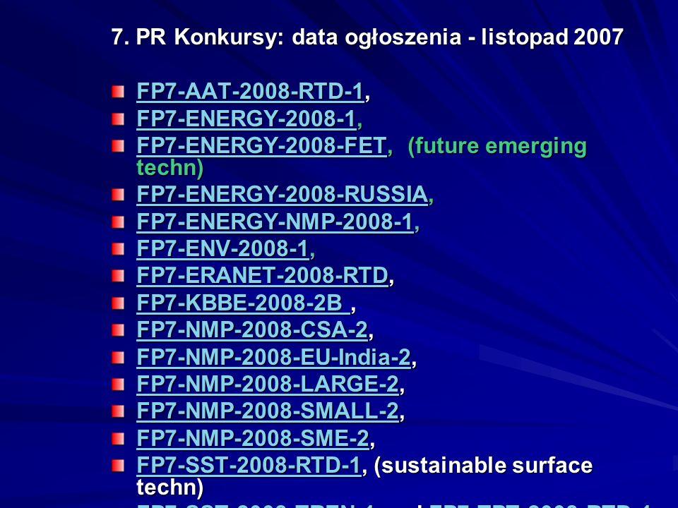 7. PR Konkursy: data ogłoszenia - listopad 2007 FP7-AAT-2008-RTD-1FP7-AAT-2008-RTD-1, FP7-AAT-2008-RTD-1 FP7-ENERGY-2008-1FP7-ENERGY-2008-1, FP7-ENERG