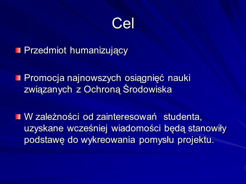 Cel Przedmiot humanizujący Promocja najnowszych osiągnięć nauki związanych z Ochroną Środowiska W zależności od zainteresowań studenta, uzyskane wcześ