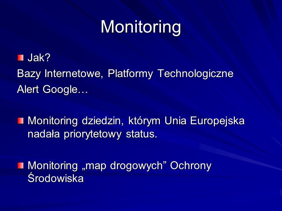 Monitoring Jak? Bazy Internetowe, Platformy Technologiczne Alert Google… Monitoring dziedzin, którym Unia Europejska nadała priorytetowy status. Monit