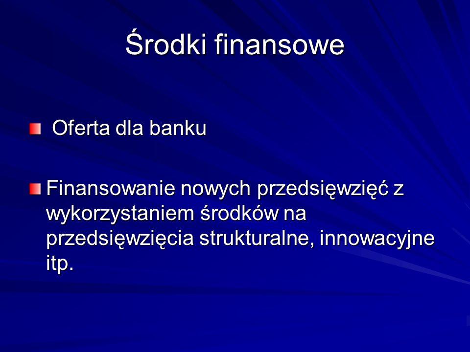 Środki finansowe Oferta dla banku Oferta dla banku Finansowanie nowych przedsięwzięć z wykorzystaniem środków na przedsięwzięcia strukturalne, innowac