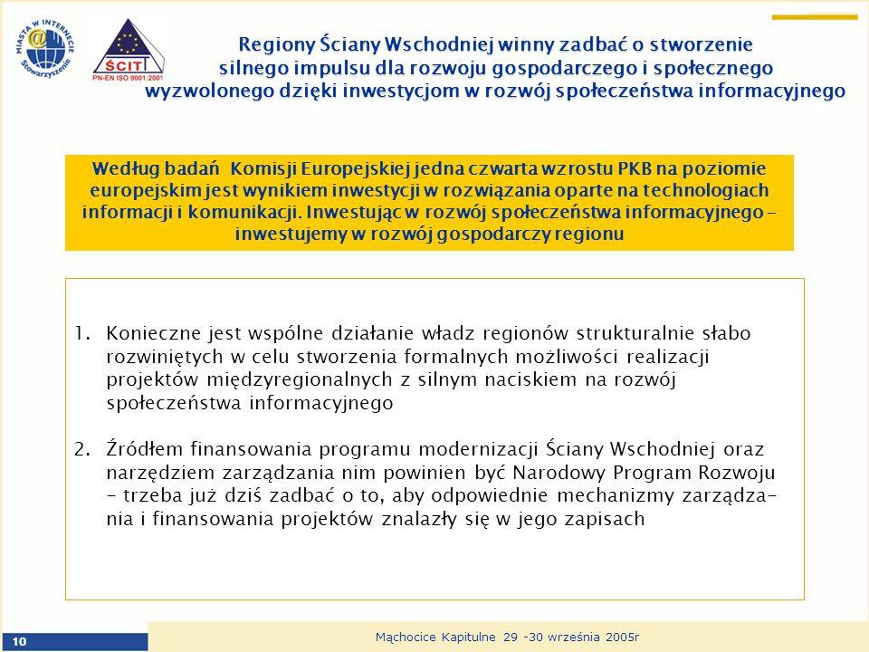 10 Mąchocice Kapitulne 29 -30 września 2005r Regiony Ściany Wschodniej winny zadbać o stworzenie silnego impulsu dla rozwoju gospodarczego i społecznego wyzwolonego dzięki inwestycjom w rozwój społeczeństwa informacyjnego Według badań Komisji Europejskiej jedna czwarta wzrostu PKB na poziomie europejskim jest wynikiem inwestycji w rozwiązania oparte na technologiach informacji i komunikacji.