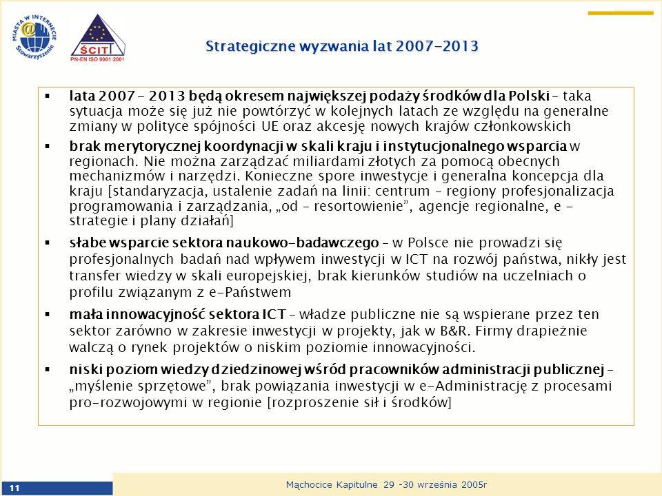 11 Mąchocice Kapitulne 29 -30 września 2005r Strategiczne wyzwania lat 2007-2013 lata 2007 – 2013 będą okresem największej podaży środków dla Polski – taka sytuacja może się już nie powtórzyć w kolejnych latach ze względu na generalne zmiany w polityce spójności UE oraz akcesję nowych krajów członkowskich brak merytorycznej koordynacji w skali kraju i instytucjonalnego wsparcia w regionach.