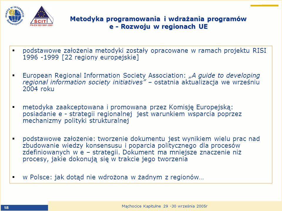 18 Mąchocice Kapitulne 29 -30 września 2005r Metodyka programowania i wdrażania programów e - Rozwoju w regionach UE podstawowe założenia metodyki zostały opracowane w ramach projektu RISI 1996 -1999 [22 regiony europejskie] European Regional Information Society Association: A guide to developing regional information society initiatives – ostatnia aktualizacja we wrześniu 2004 roku metodyka zaakceptowana i promowana przez Komisję Europejską: posiadanie e - strategii regionalnej jest warunkiem wsparcia poprzez mechanizmy polityki strukturalnej podstawowe założenie: tworzenie dokumentu jest wynikiem wielu prac nad zbudowanie wiedzy konsensusu i poparcia politycznego dla procesów zdefiniowanych w e – strategii.