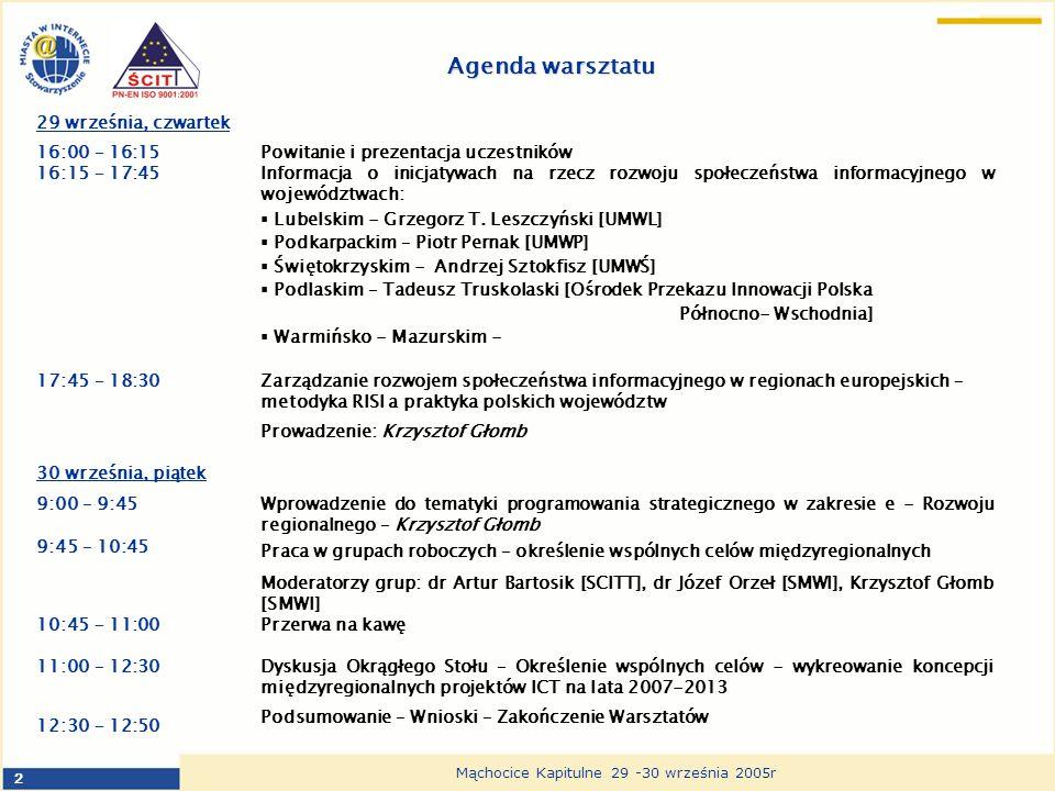 2 Mąchocice Kapitulne 29 -30 września 2005r Agenda warsztatu 29 września, czwartek 16:00 – 16:15Powitanie i prezentacja uczestników 16:15 – 17:45Informacja o inicjatywach na rzecz rozwoju społeczeństwa informacyjnego w województwach: Lubelskim - Grzegorz T.