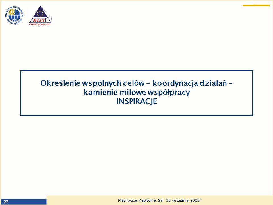 27 Mąchocice Kapitulne 29 -30 września 2005r Określenie wspólnych celów – koordynacja działań – kamienie milowe współpracy INSPIRACJE
