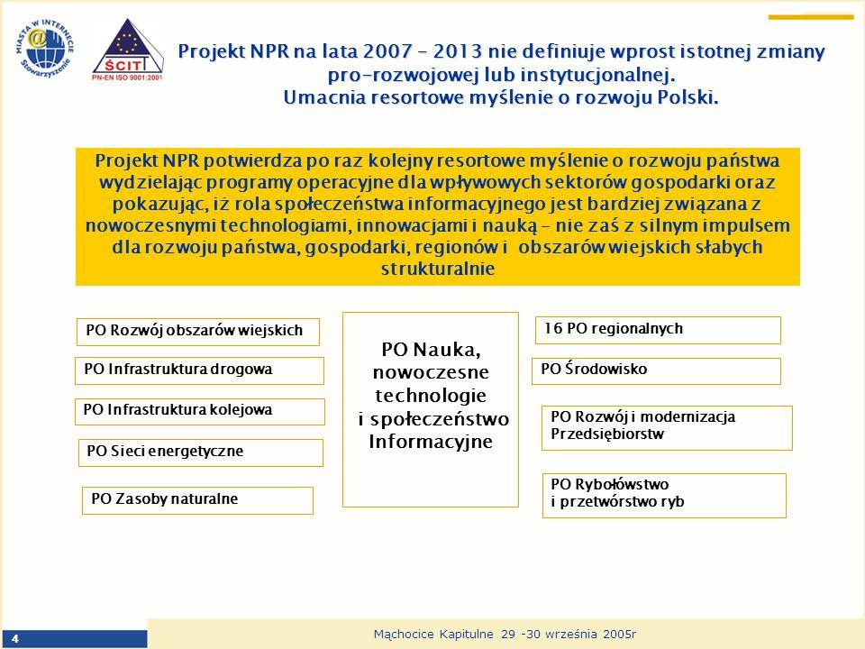 4 Mąchocice Kapitulne 29 -30 września 2005r Projekt NPR na lata 2007 – 2013 nie definiuje wprost istotnej zmiany pro-rozwojowej lub instytucjonalnej.